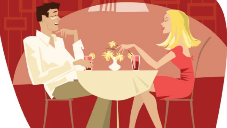 среща влюбени вечеря