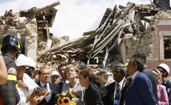 Трусове посрещат Г-8 в разрушения Акуила