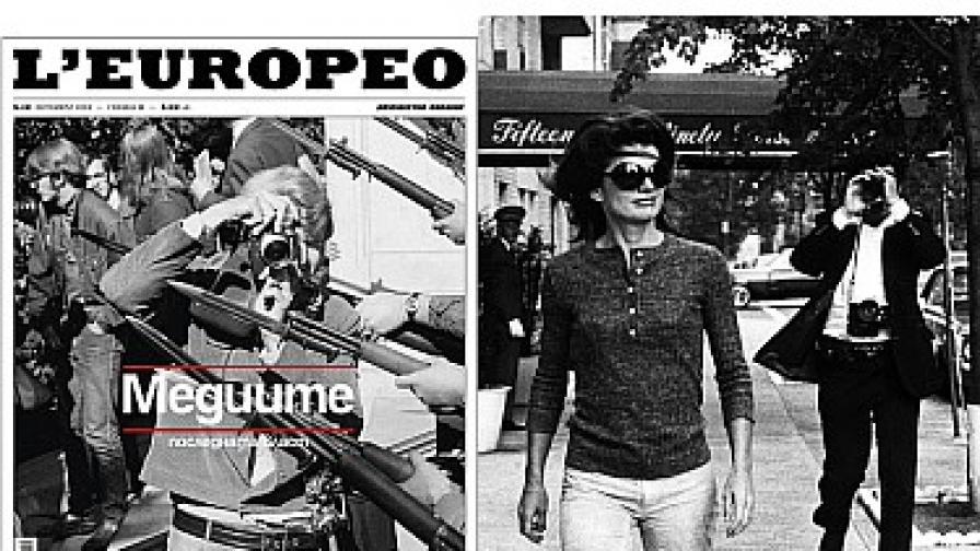 Папаракът Рон Галела снима Джаки Кенеди (вдясно) и корицата на броя