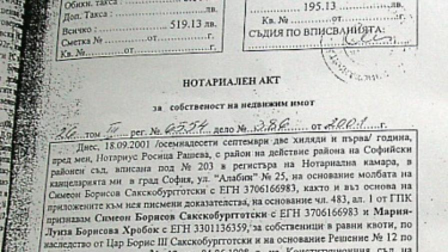 През 2005 г. известният адвокат проф. Александър Джеров заяви, че документът, който се представя като Нотариален акт за собствеността върху Двореца Врана и земята около него няма никаква юридическа стойност