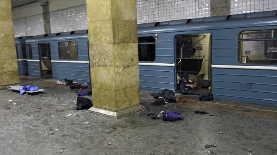 """В станция """"Парк на културата"""" на московското метро след експлозията"""