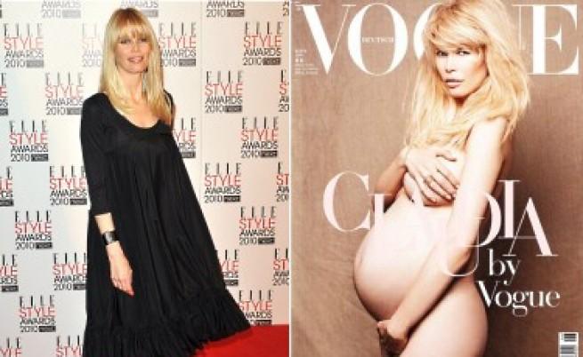 Клаудия Шифър гола и бременна във