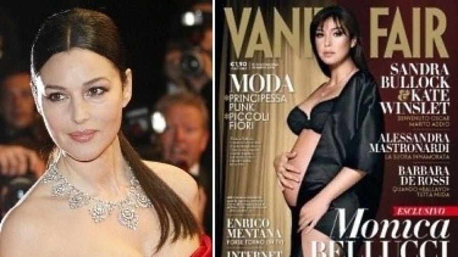 """Моника Белучи в Кан и бременна на корицата на """"Венити феър"""""""