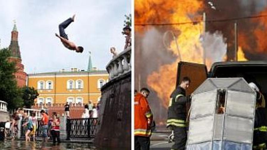 Сцени от жегите в Русия
