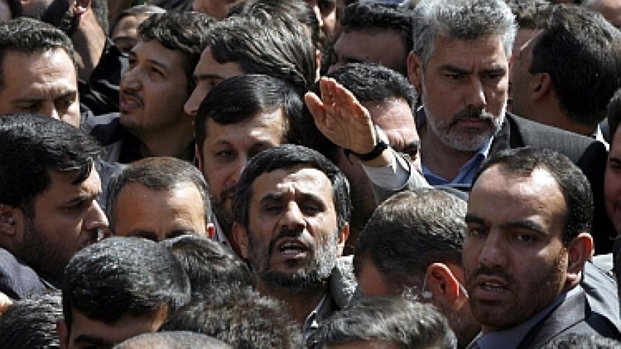 Ахмадинеджад по време на антиизраелския митинг