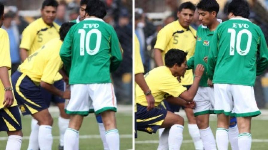 Ево Моралес си изпусна нервите и удари грубо свой футболен противник