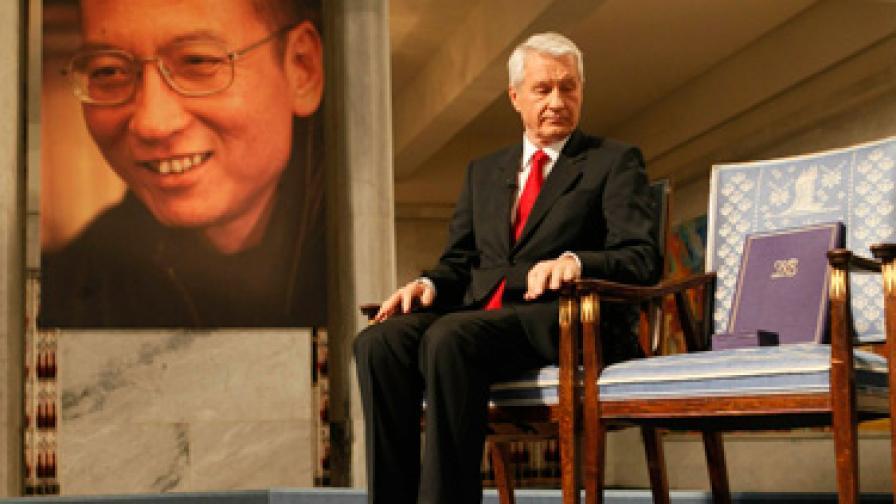 Ягланд до празния стол, на който трябваше да седи Лю Сяобо