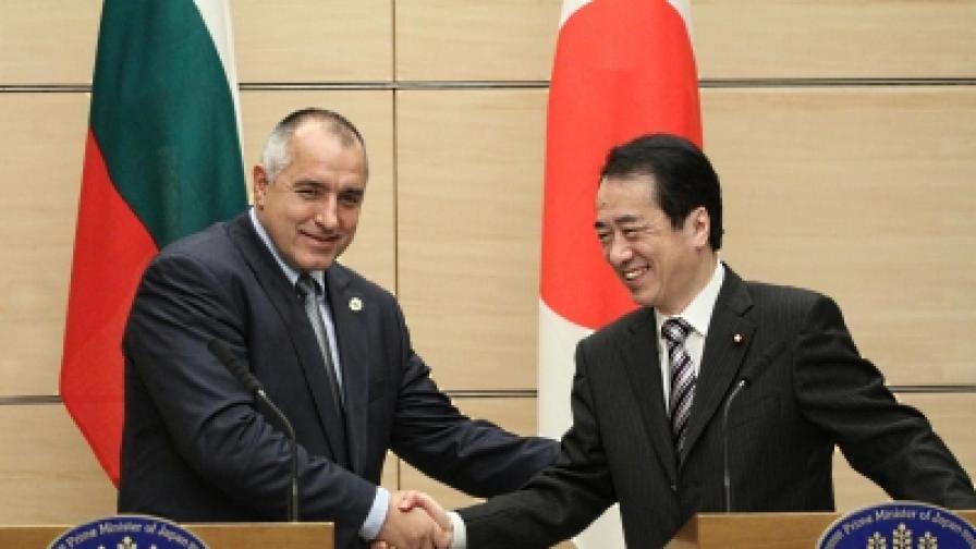 Борисов, който е на работно посещение, и премиерът на Япония Наото Кан направиха изявления след срещата си