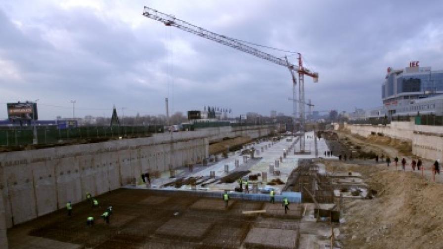 Част от строежа на софийското метро