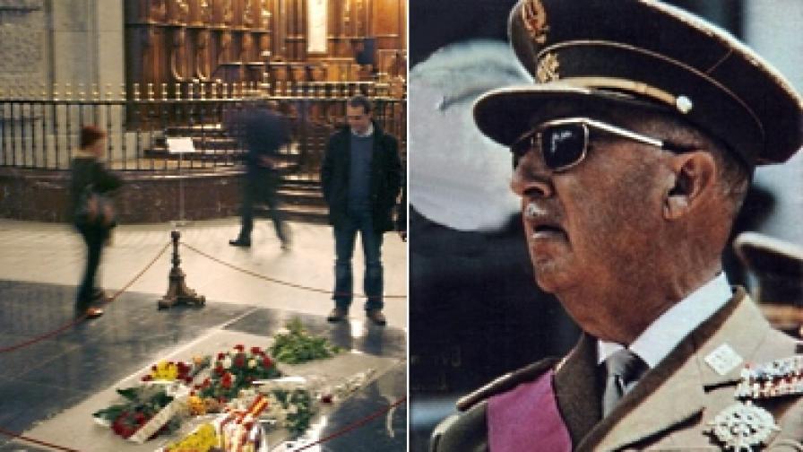 """Гробът на Франко в """"Долината на падналите"""" (вляво) и самият диктатор през 1969 г."""