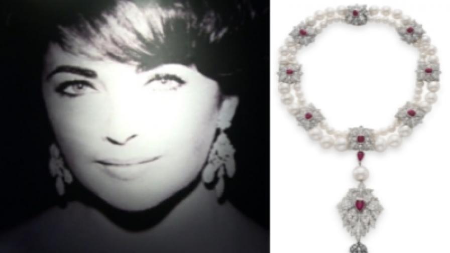 """Лиз Тейлър поръчала на бижутер във фирмата """"Картие"""" да монтира перлата заедно с диаманти, рубини и други перли в колие"""