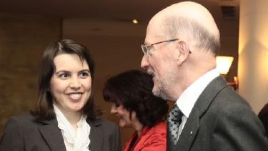 Любка Качакова и Симеон Сакскобургготски на конференция през 2008 г.