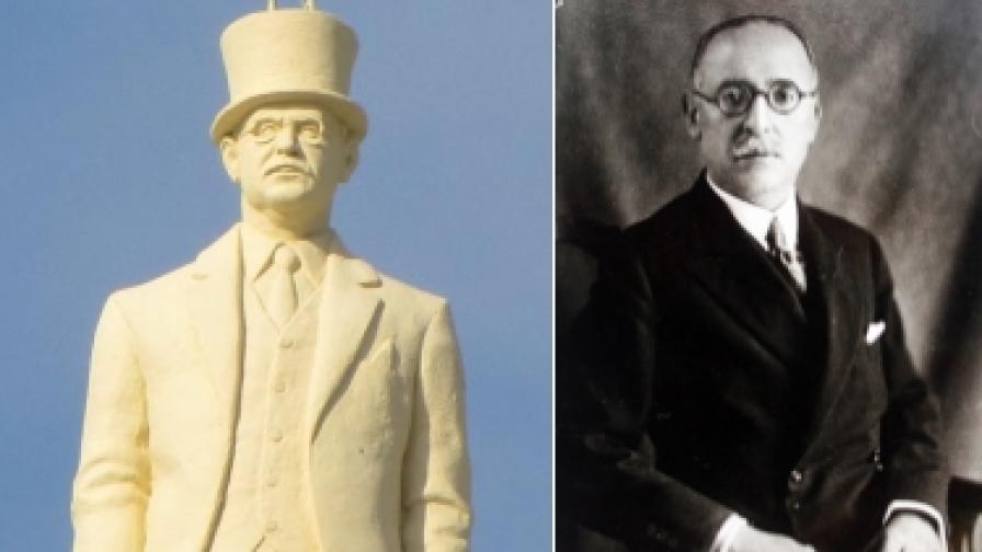 Симеон Радев (1879-1967) и неговата статуя на покрива на министерството на външните работи в Скопие
