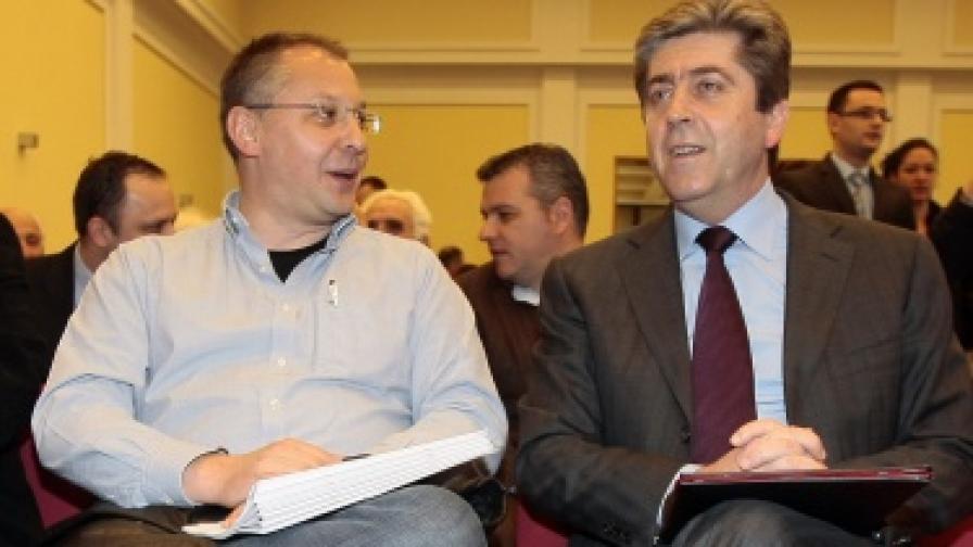 Сергей Станишев и Георги Първанов на отчетно-изборната конференция на районния съвет на БСП в Красно село на 21 април