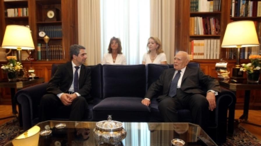 Президентът Росен Плевнелиев и гръцкият държавен глава Каролос Папуляс разговаряха в Атина
