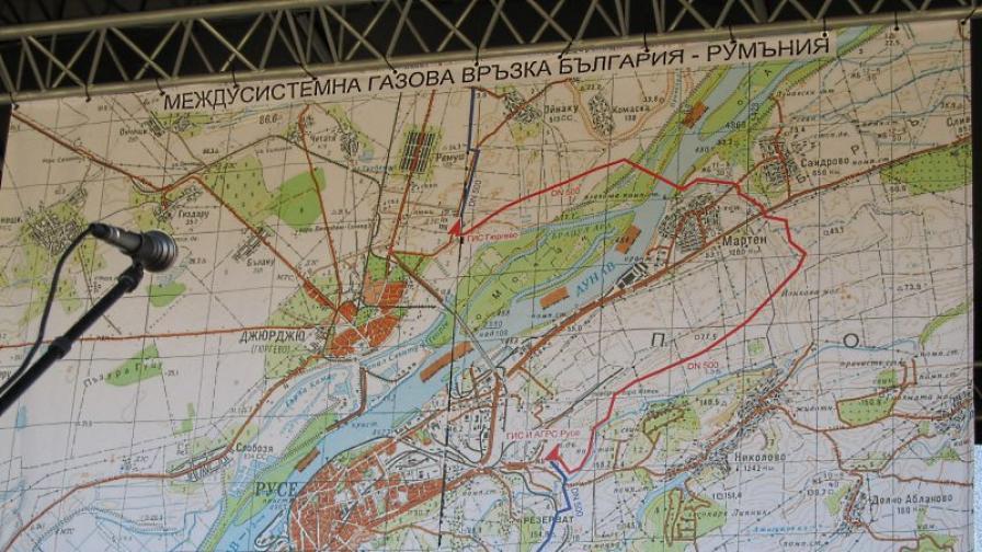 Карта на междусистемната газова връзка с Румъния, която се изгражда