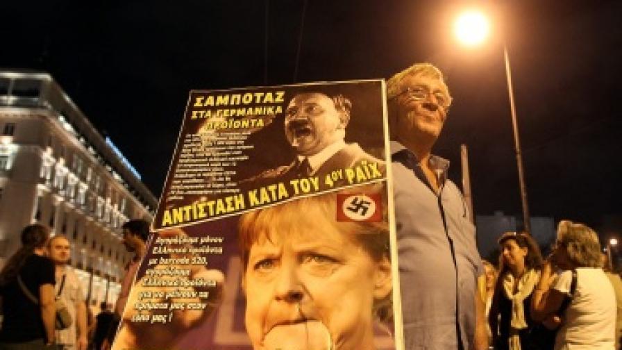 Протести срещу посещението на Ангела Меркел в Гърция имаше и вчера. Много разпространени сред недоволстващите гърци са плакатите, на които Меркел е сравнявана с Хитлер
