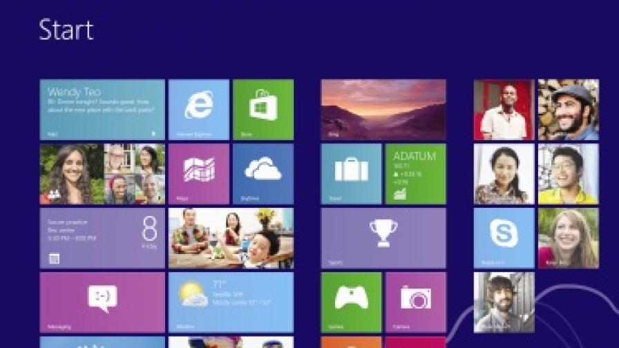 Така изглежда началният екран на Windows 8