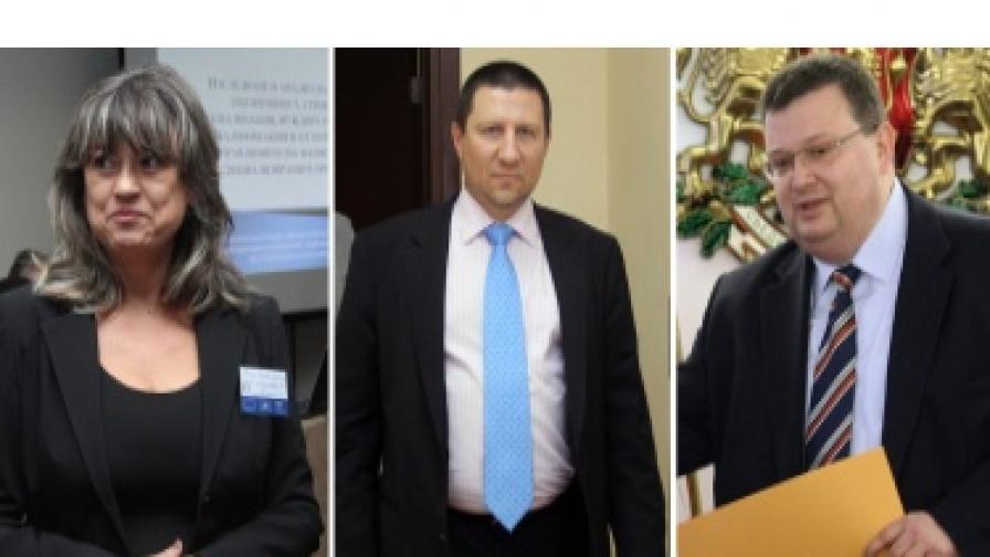 Кандидатите за поста главен прокурор: (отляво) Галина Тонева, Борислав Сарафов, Сотир Цацаров