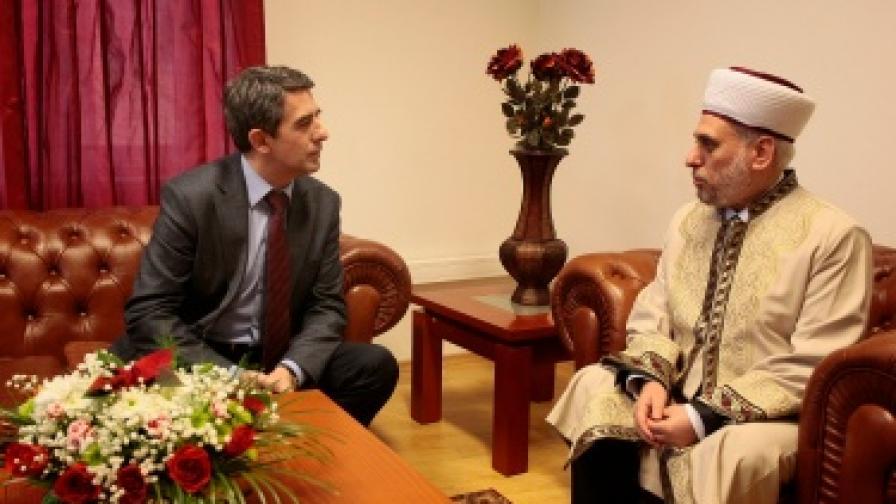 Президентът Росен Плевнелиев разговаря с главния мюфтия Мустафа Хаджи