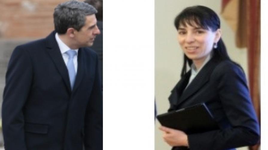 Президентът Росен Плевнелиев и неговият прессекретар Мария Иванова