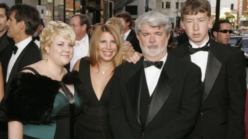 Джордж Лукас с трите си предишни деца - Кейти (вляво), Аманда и Джет
