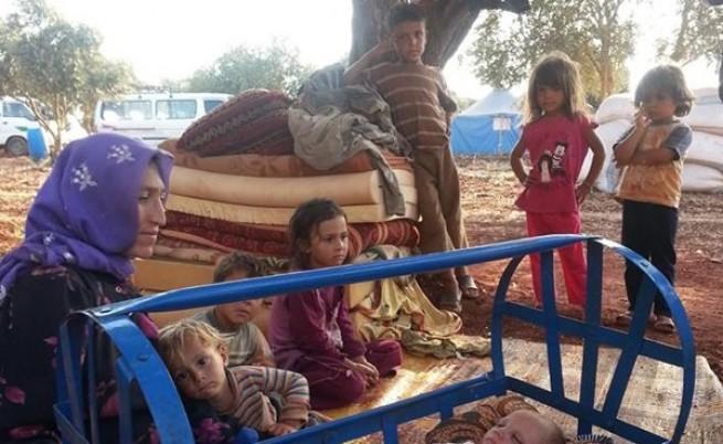 """Четвъртата акция на """"Приятели на бежанците"""" в село Баня беше на 8 септември, когато добоволци занесоха занесоха памперси, зехтин, ориз и книги."""