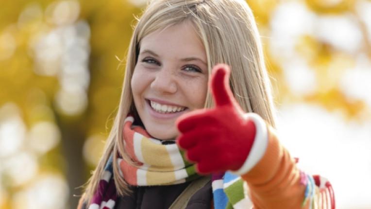 здраве усмивка жена есен