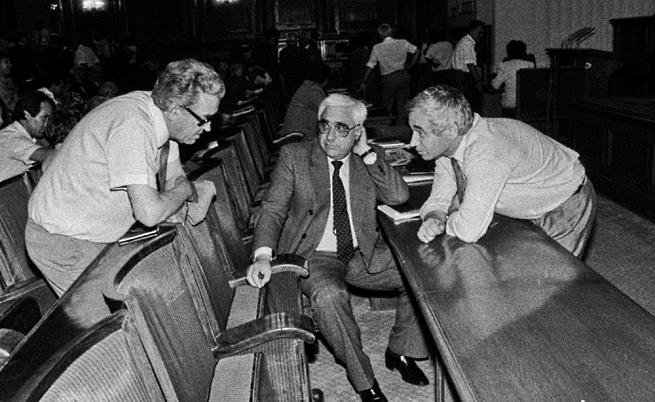 Станко Тодоров, Андрей Луканов и Жельо Желев в пленарната зала на Великото народно събрание
