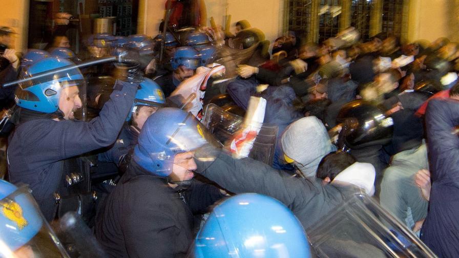 Схватки в Рим на протест срещу изграждане на скоростна ж.п. линия до Франция